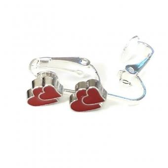 Clipoorbellen dubbel hartje rood, knopje