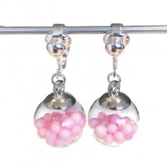 Clipoorbellen bal met bolletjes roze, hangoorbellen