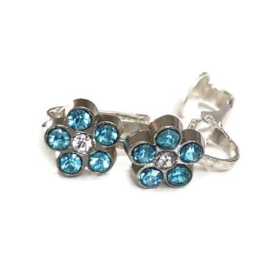 Clipoorbellen bloem glitter turquoise 3, knopje
