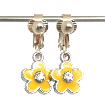 Clip oorbellen bloem geel glitter, hangoorbellen