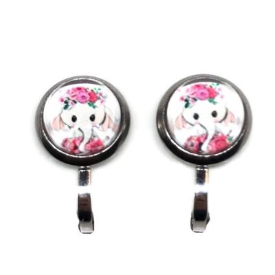 Clipoorbellen olifantje roze, knopje