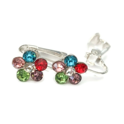 Clipoorbellen bloem glitter regenboog, knopje
