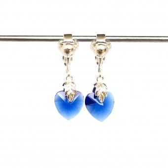 Clip oorbellen glazen hart blauw, hangoorbellen