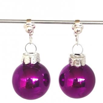 Clipoorbellen kerstbal glas paarsroze, hangoorbellen