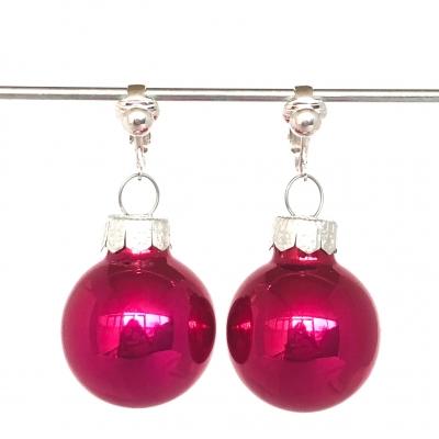 Clipoorbellen kerstbal glas fuchsiaroze, hangoorbellen