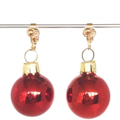 Clipoorbellen kerstbal glas rood glanzend, hangoorbellen