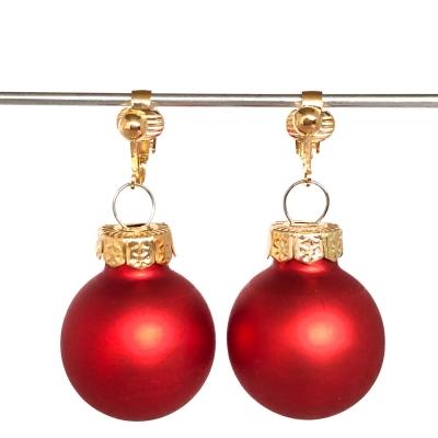 Clipoorbellen kerstbal glas rood mat, hangoorbellen
