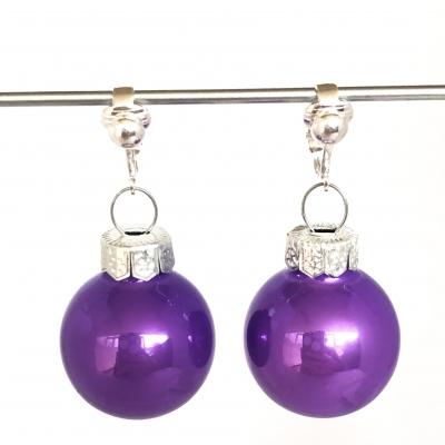 Clipoorbellen kerstbal glas lila, hangoorbellen