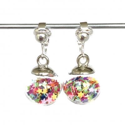 Clipoorbellen bal met sterretjes regenboog, hangoorbellen