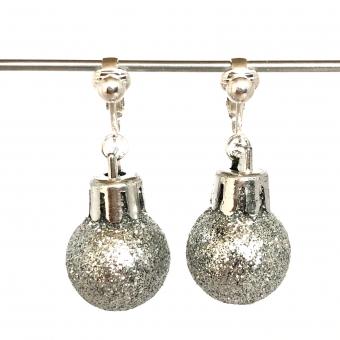 Clipoorbellen kerstbal klein plastic zilver glitter, hangoorbellen