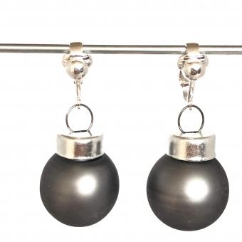 Clipoorbellen kerstbal klein glas donkergrijs mat, hangoorbellen