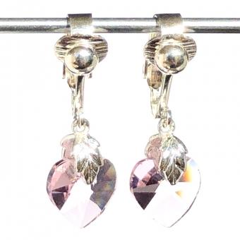Clip oorbellen glazen hart roze, hangoorbellen