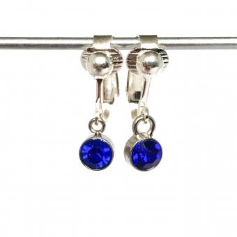 Clipoorbellen miniglitter blauw, hangoorbellen