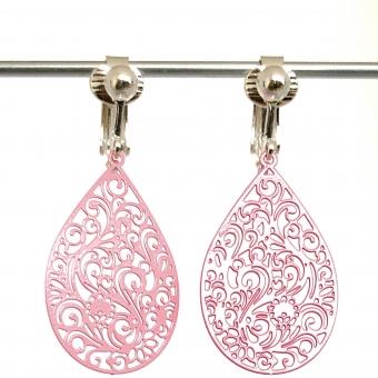 Clipoorbellen filigraan boho-chic roze druppel, hangoorbellen