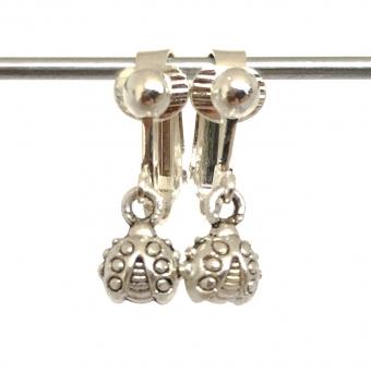 Clipoorbellen zilver lieveheersbeestje, hangoorbellen