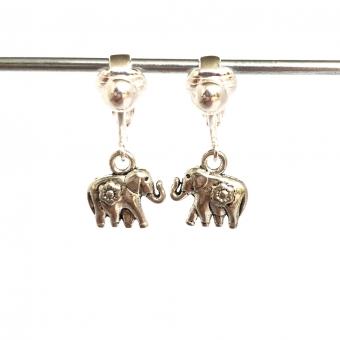 Clipoorbellen zilver olifant klein, hangoorbellen